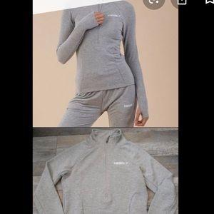 Gym Shark Pullover half zip grey sweatshirt